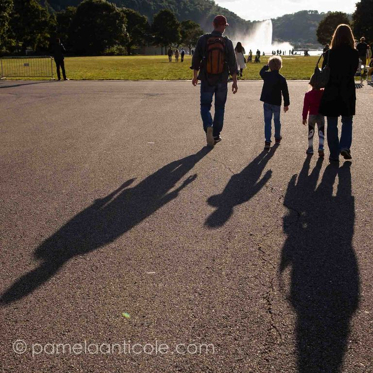silhouette of family at the point in downtown pittsburgh during the annual arts festival