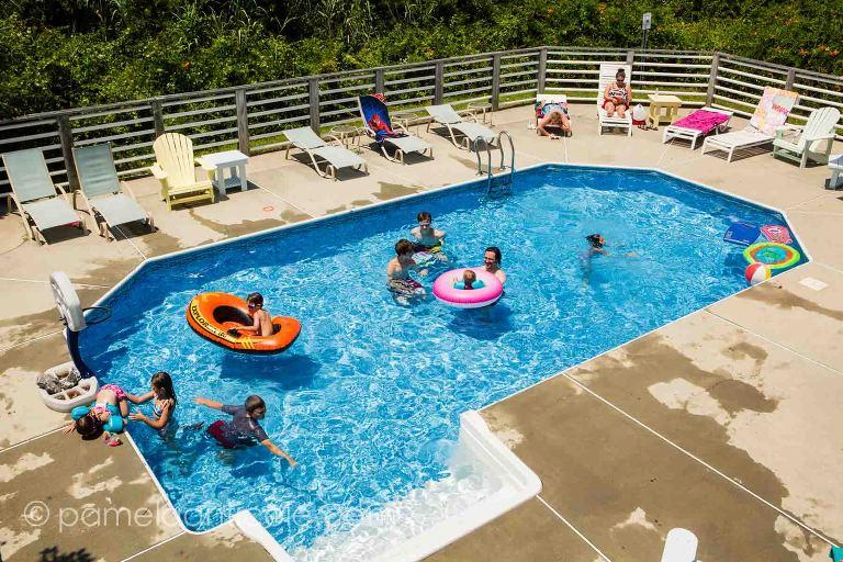 family vacation at the sandbridge beach house pool