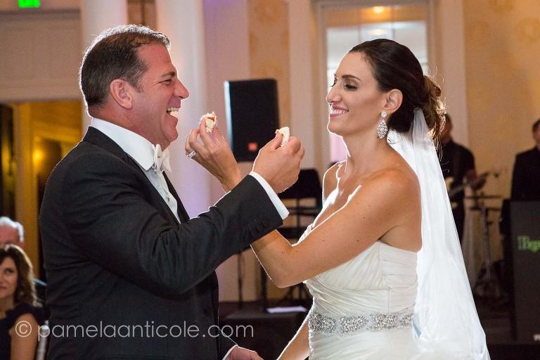 cake cutting bride and groom, bedford springs colonnade ballroom reception photos