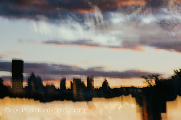 unique pittsburgh gift, abstract cityscape art, multiple exposure, icm, fine art photography