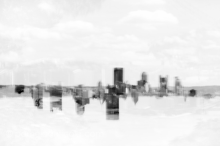 unique pittsburgh photography art, urban, multiple exposure, black and white, cityscape, silhouette