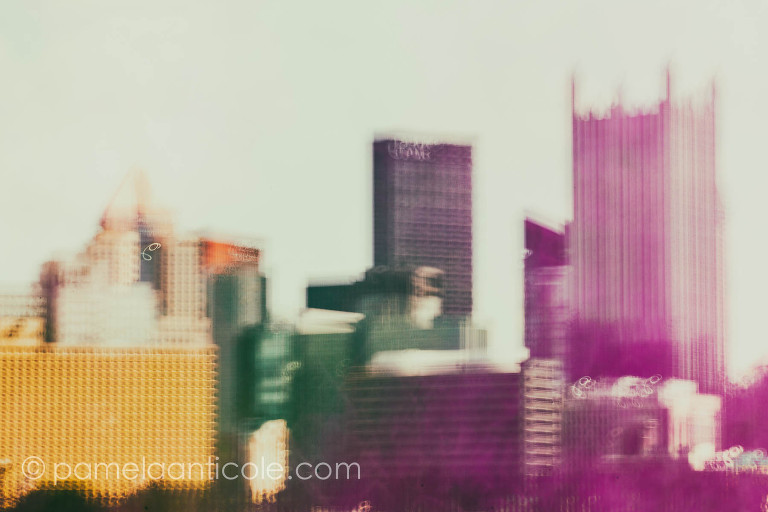 multiple exposure of pittsburgh city using icm for a fine art print, pittsburgh wall art for sale