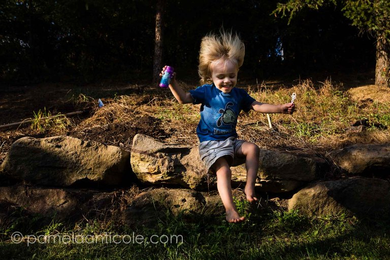 pittsburgh documentary family photographer, toddler jumping