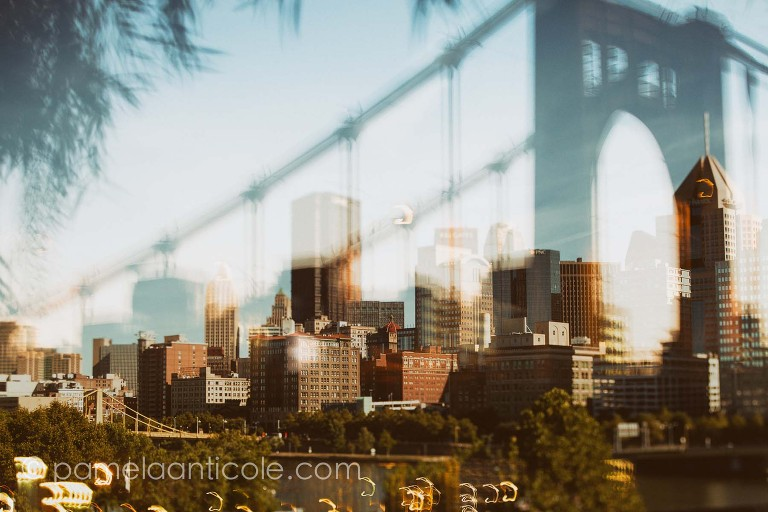 multiple exposure fine art, creative pittsburgh art photography, color, urban, cityscape, icm, long exposure