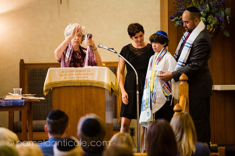 Bar Mitzvah photos during ceremony at Beth Shalom Pittsburgh