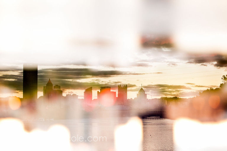 original art of pittsburgh skyline, multiple exposure cityscape, washington's landing
