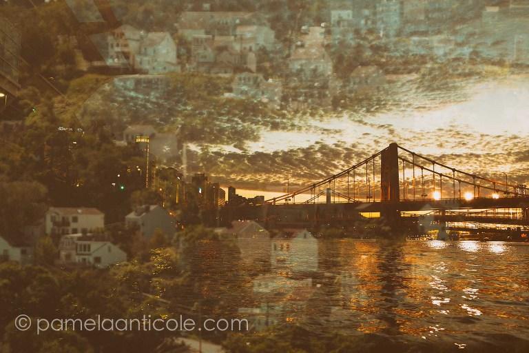 creative pittsburgh original art, pittsburgh steelers original art, andy warhol bridge, multiple exposure