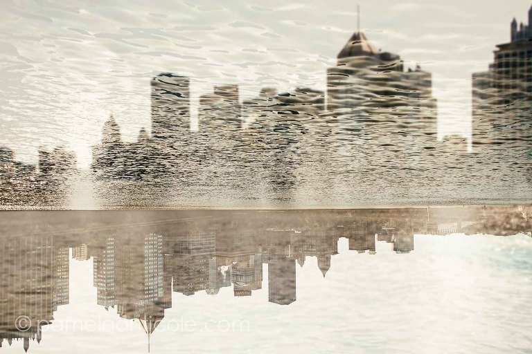 unique pittsburgh art print gift, abstract cityscape over the water