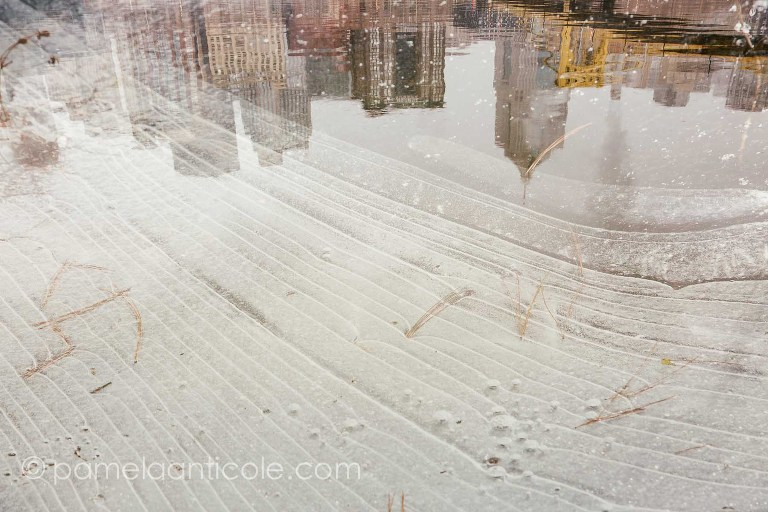 pittsburgh city reflection, icy winter photograph, unique nature photography, original pittsburgh art for sale