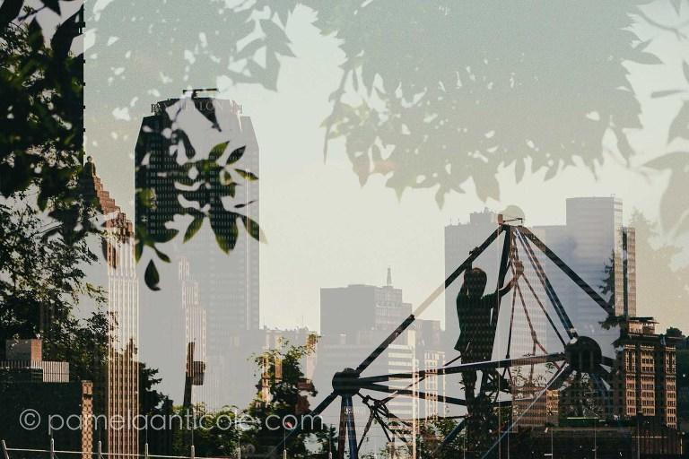 abstract urban photography, double exposures, pittsburgh, original pittsburgh art, frick park, kids climbing, stock photography