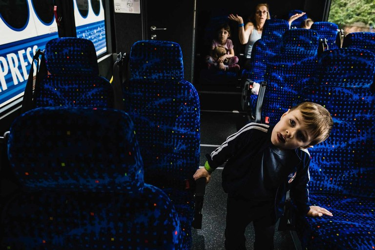 family on magical express bus to disney world