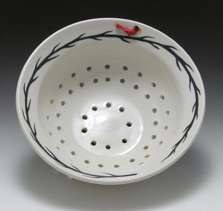 berry bowl simple and elegant white with red cardinal, hand crafted pottery