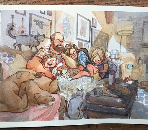 storytelling style watercolor painting of family portrait done by jared cullum