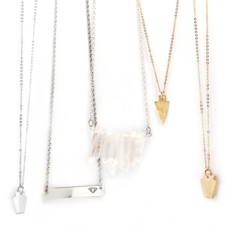 simple elegant jewelry necklaces in gold and silver