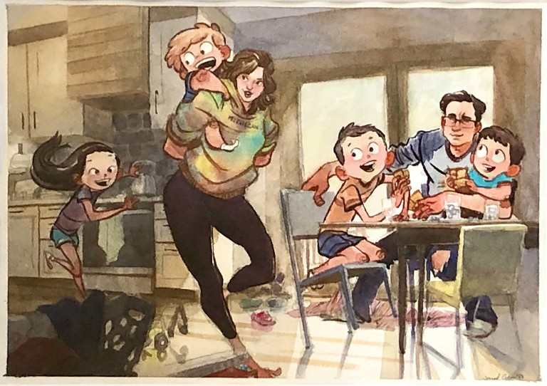 watercolor portrait of pittsburgh family playing together in storytelling style, painted by jared cullum