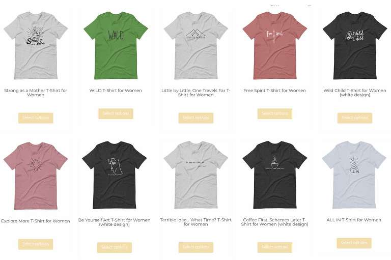 independent mama shirt designs, screenshot of shop page