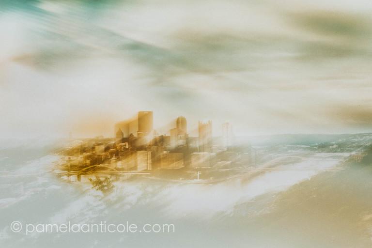 multiple exposure icm creative fine art print of pittsburgh city